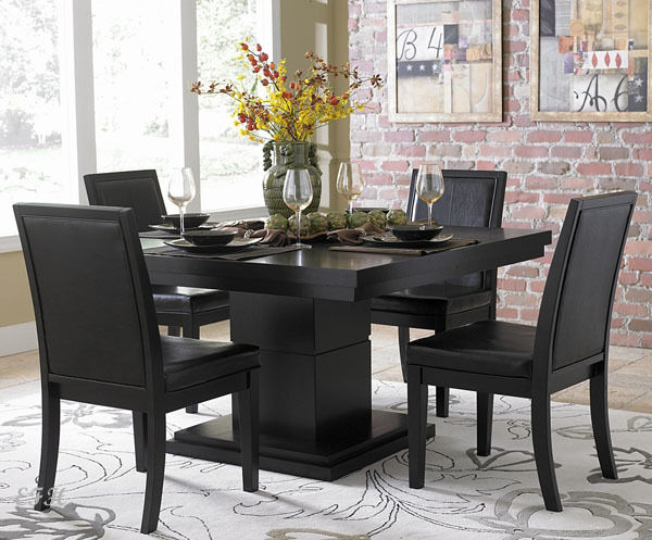 EXQUISITE MODERN 5 PC CICERO BLACK SQUARE PEDESTAL DINING