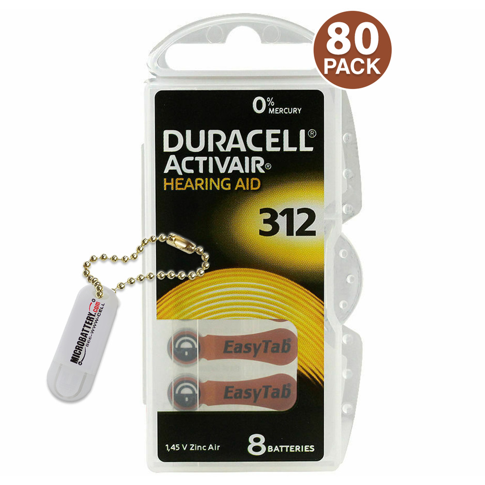 Duracell Hearing Aid Batteries PR41, P312, Size 312 (80 ...