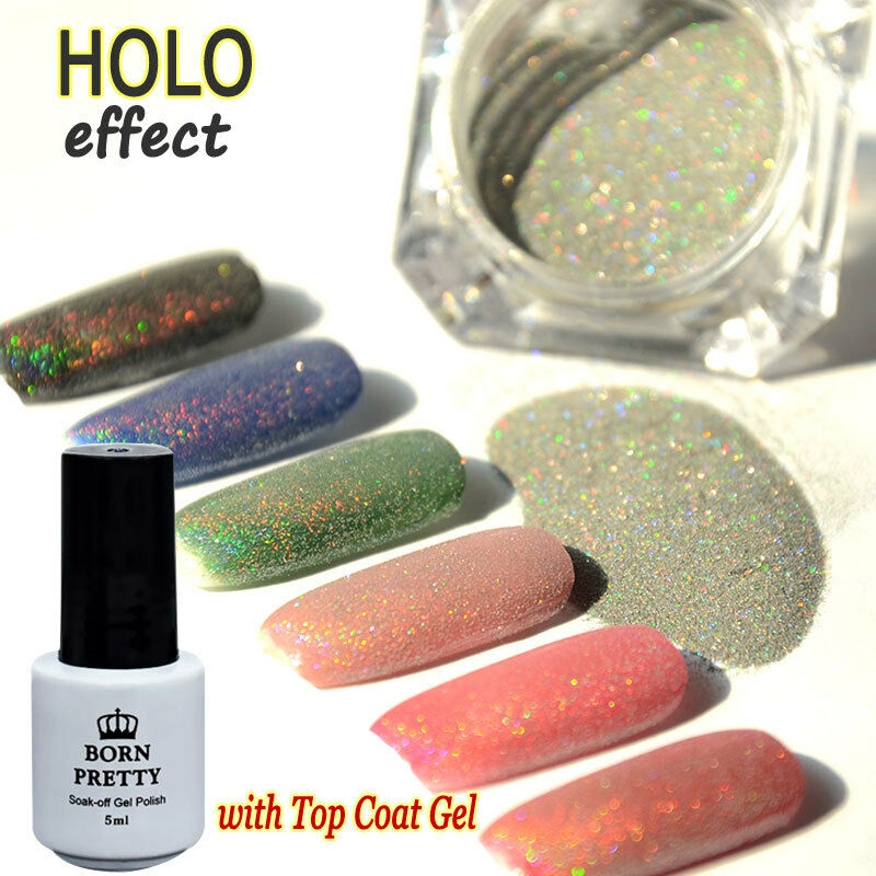 Best Holographic Nail Powder: Nail Art Holographic Holo Effect Glitter Powder & Top Coat