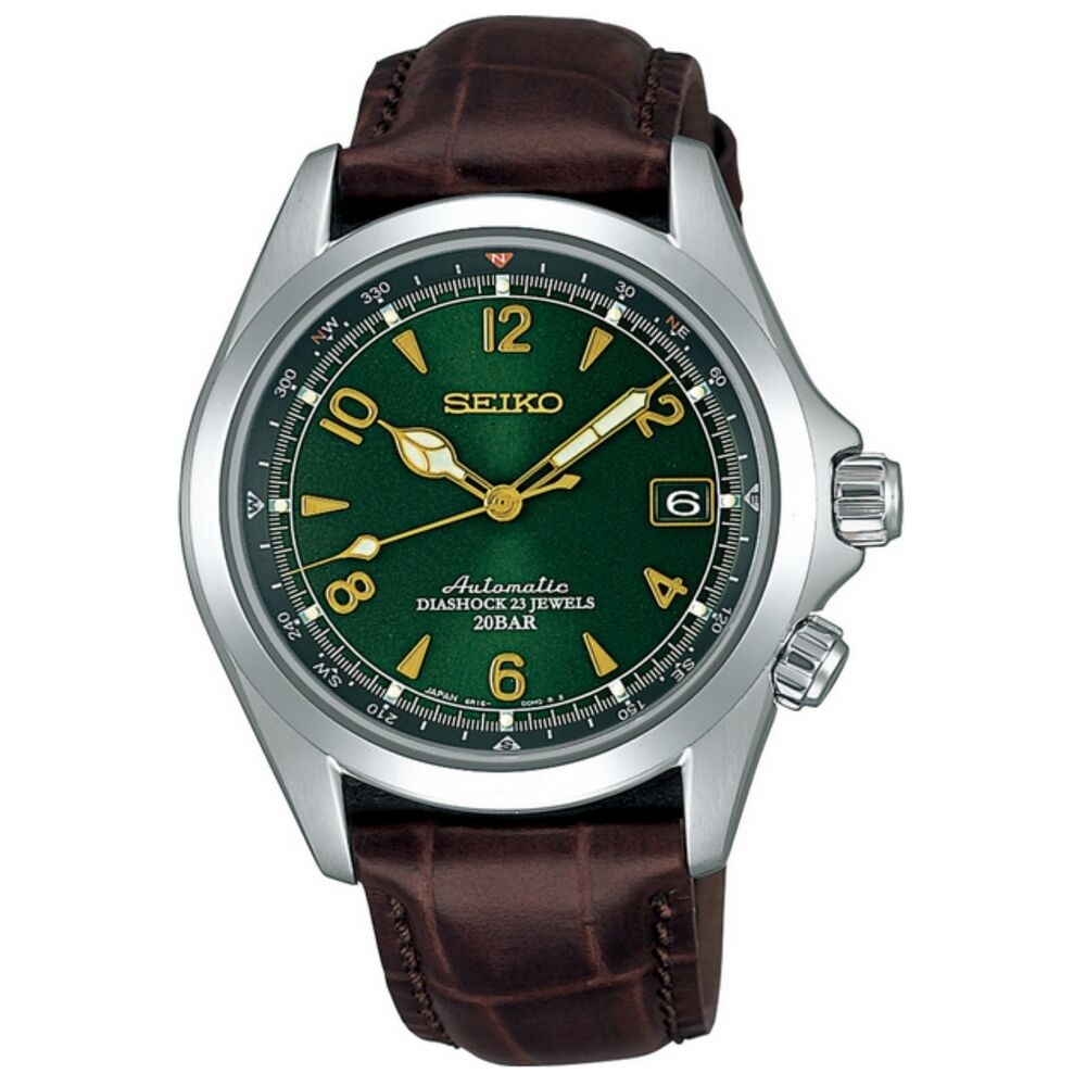 Seiko sarb017 mechanical alpinist automatic men 39 s leather watch made in japan ebay for Mountain watches