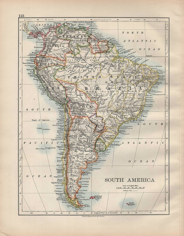 1902 MAP ~ SOUTH AMERICA ~ UNITED STATES OF BRAZIL ARGENTINA CHILE ...