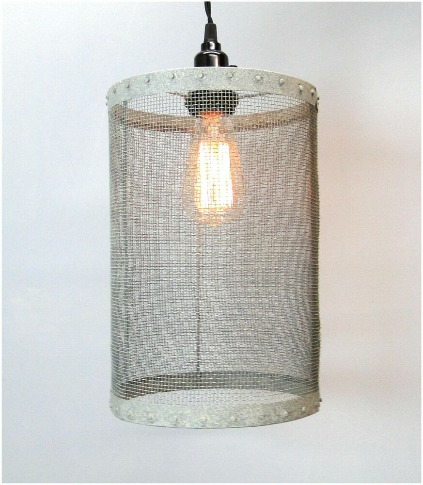 Mesh Wire Round Barrel Pendant Light Fixture Aged