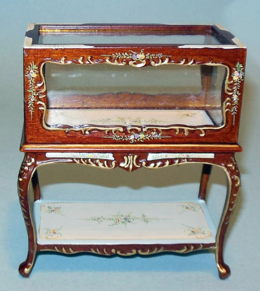 BESPAQ WALNUT DELUXE SHOW CASE DOLLHOUSE FURNITURE