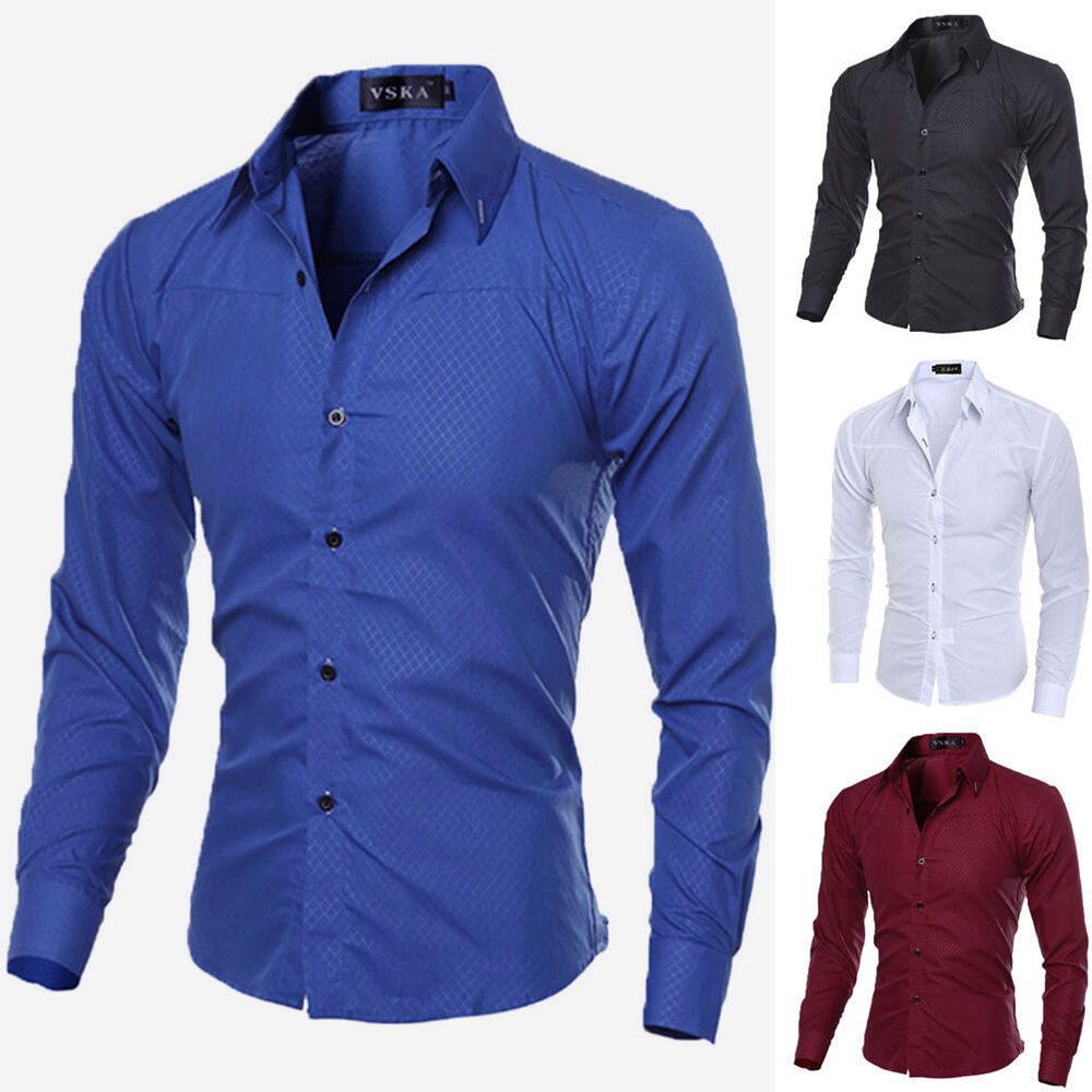 Luxury New Fashion Mens Slim Fit Shirt Long Sleeve Dress ...