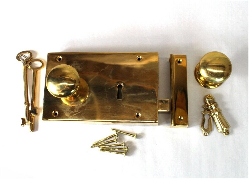 Solid brass colonial rim lock box lock surface mount for Surface lock