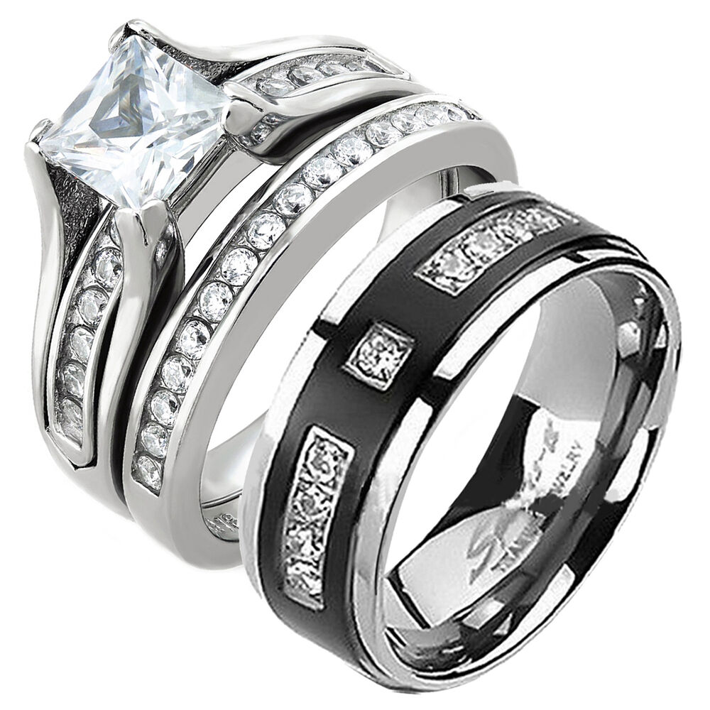 His and Hers Stainless Steel Princess Cut Wedding Ring Set Titanium Wedding B