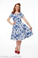 Mona's Boutique Jessica Blue White Floral 50's Rockabilly Swing Dress Size 12-22