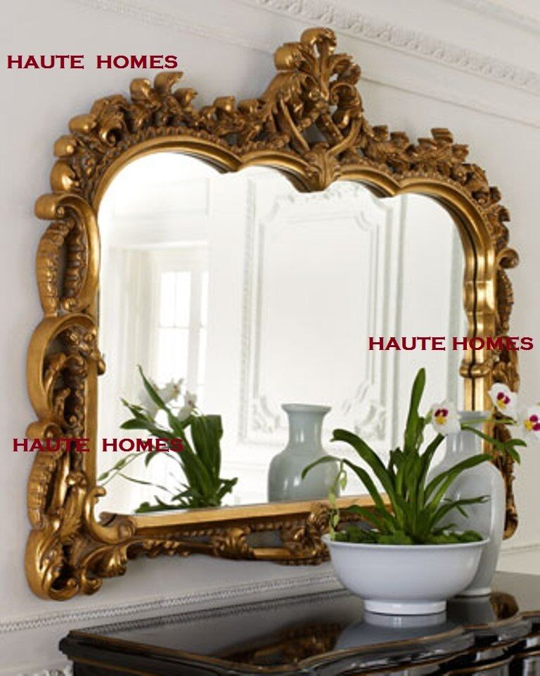 New horchow grand large 55 ornate scroll gold ornate baroque wall buffe - Buffet baroque blanc ...
