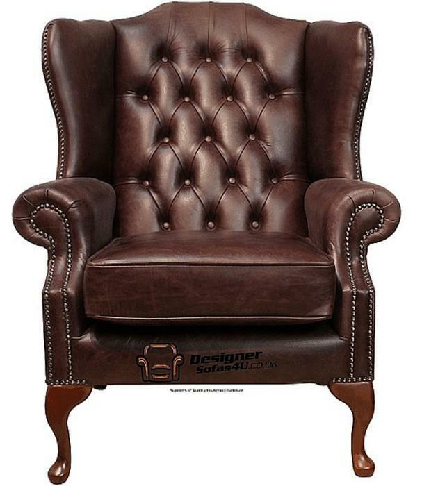 High Back Leather Sofas: Chesterfield Mallory Queen Anne High Back Wing Chair Old