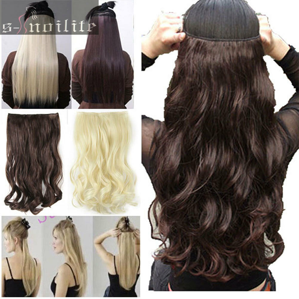 Long 100% Real Natural Hair Extensions Clip in on Hair ...