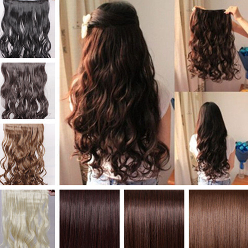 17 26 long new women hair extensions wavy curlystraight 17 26 long new women hair extensions wavy curlystraight synthetic clip in on ebay pmusecretfo Images