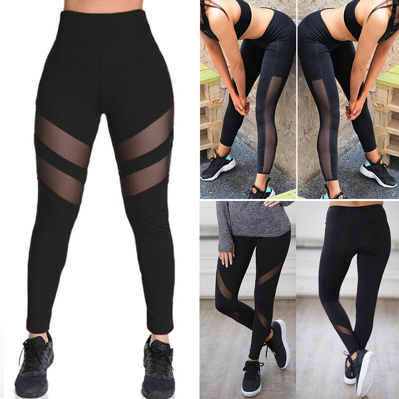 mesh yoga pants womens sports workout fitness mesh 10780