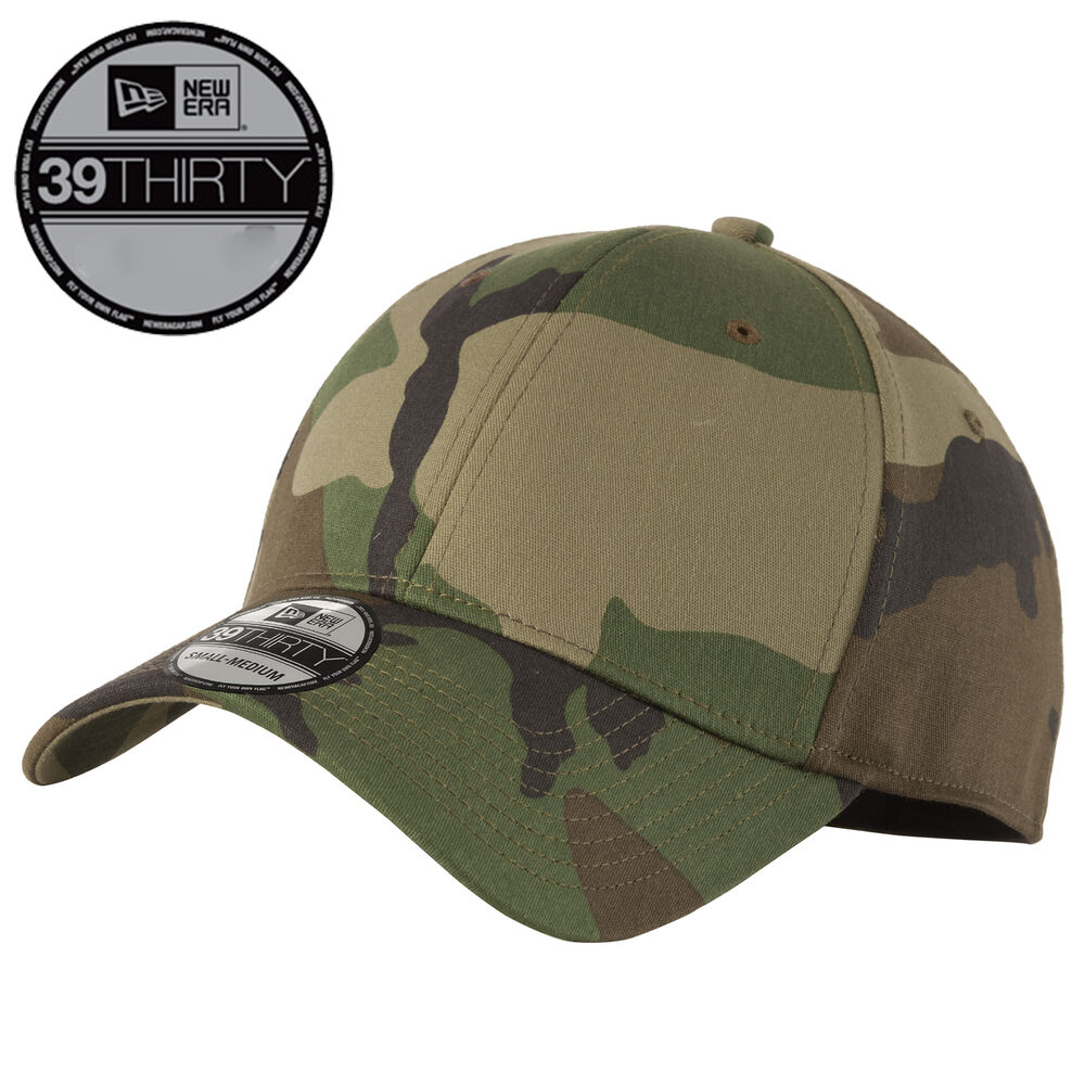 new era 39thirty blank stretch cotton fitted camo hat cap. Black Bedroom Furniture Sets. Home Design Ideas