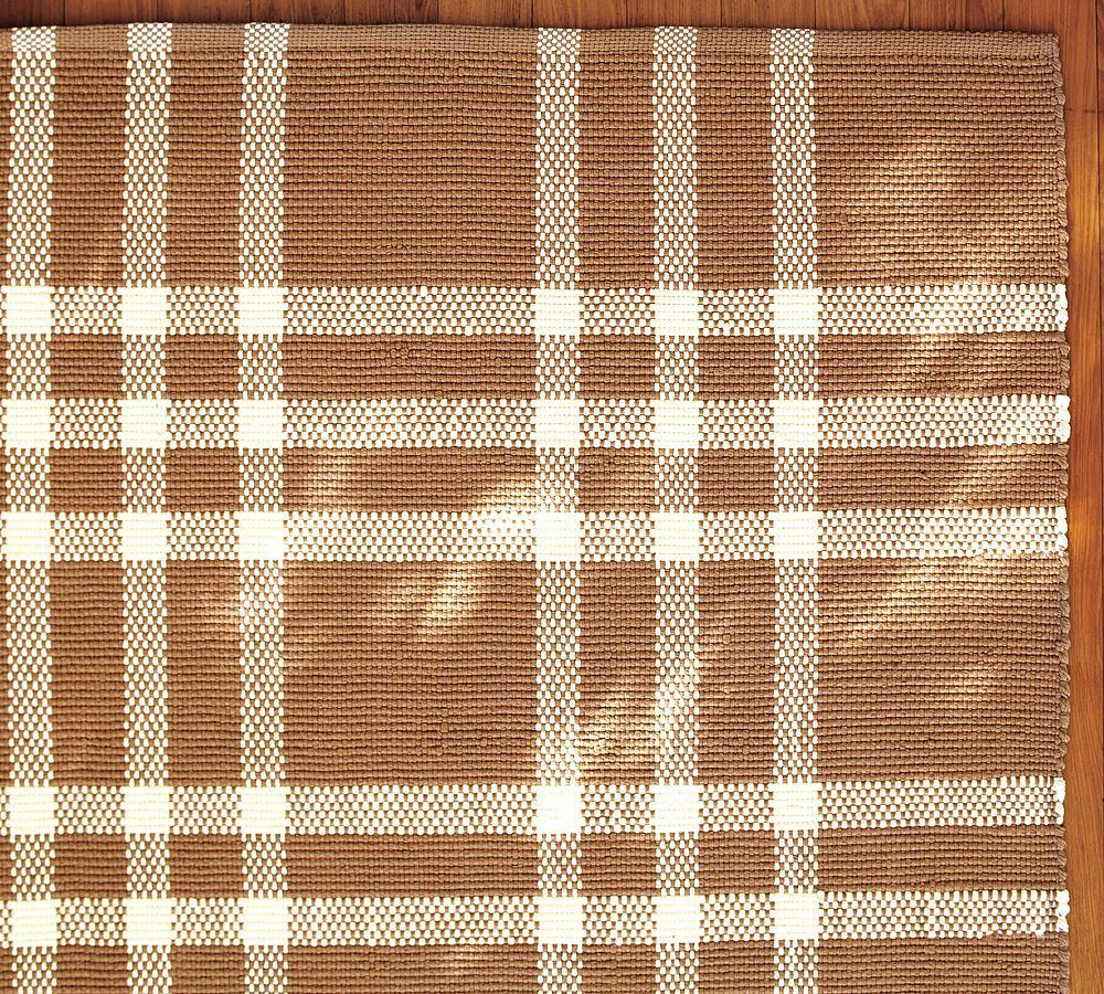 Pottery Barn Windowpane Plaid Rug 3x5 Neutral Synthetic