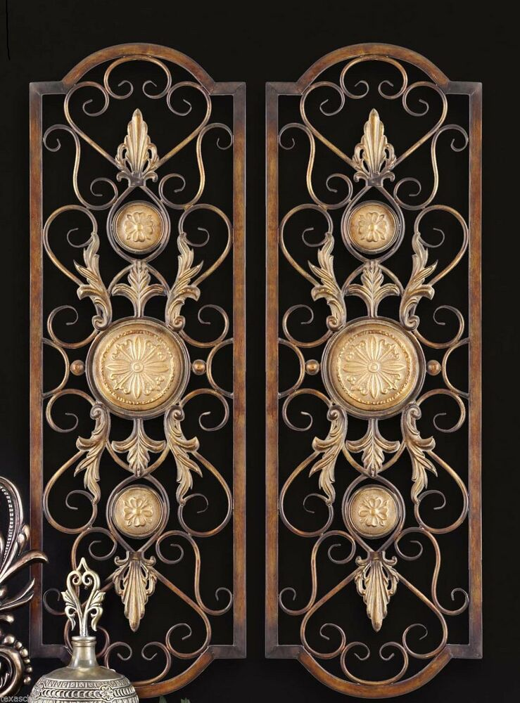 set 2 scroll wall decor wrought iron metal grille panel tuscan art plaque grill ebay. Black Bedroom Furniture Sets. Home Design Ideas