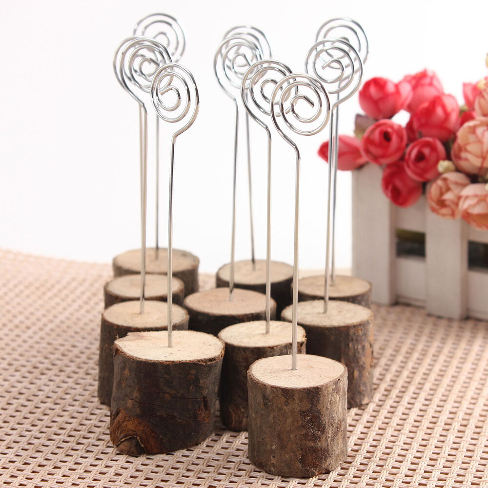 10 wooden base rustic wedding table number place name memo for Table number holders