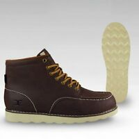 Hey Dude Shoes Rocca Dark Brown Leather Moc Toe Boots