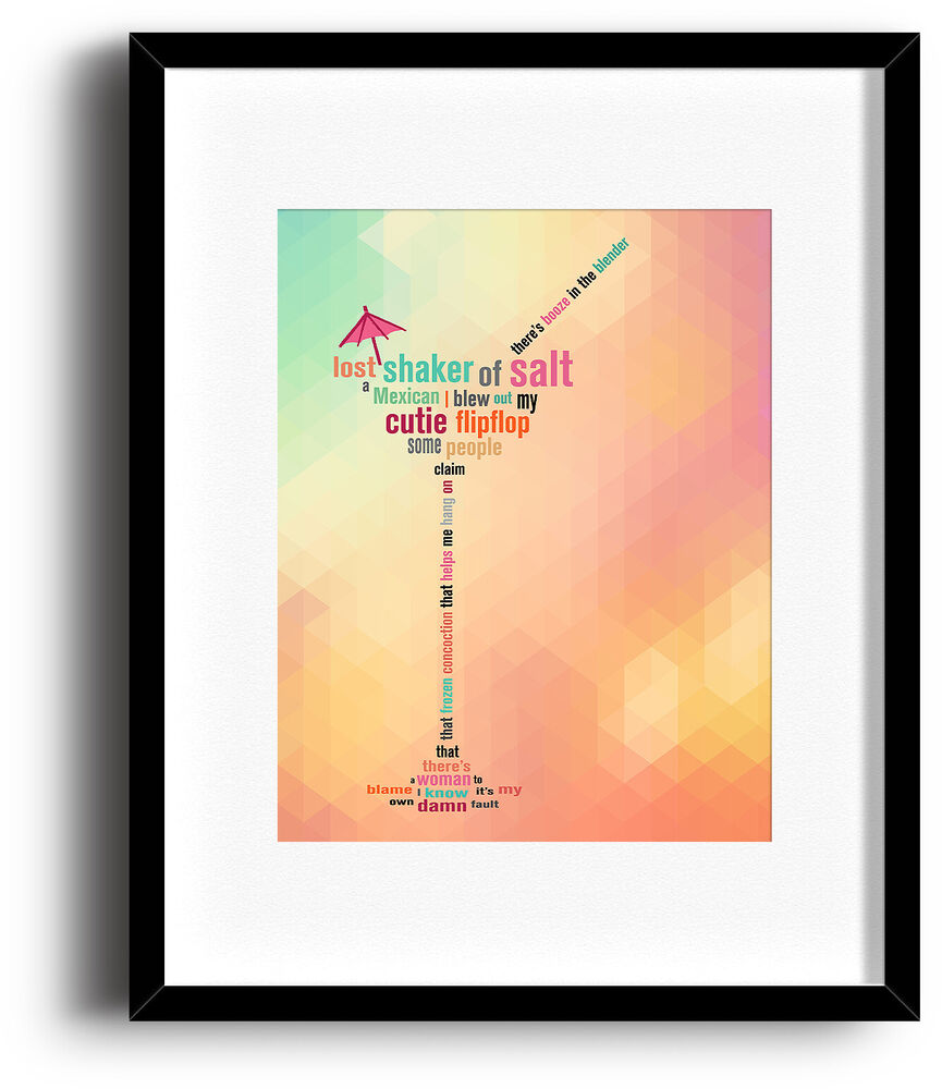 MARGARITAVILLE • Song Lyric Art Poster • JIMMY BUFFETT• Prints ...