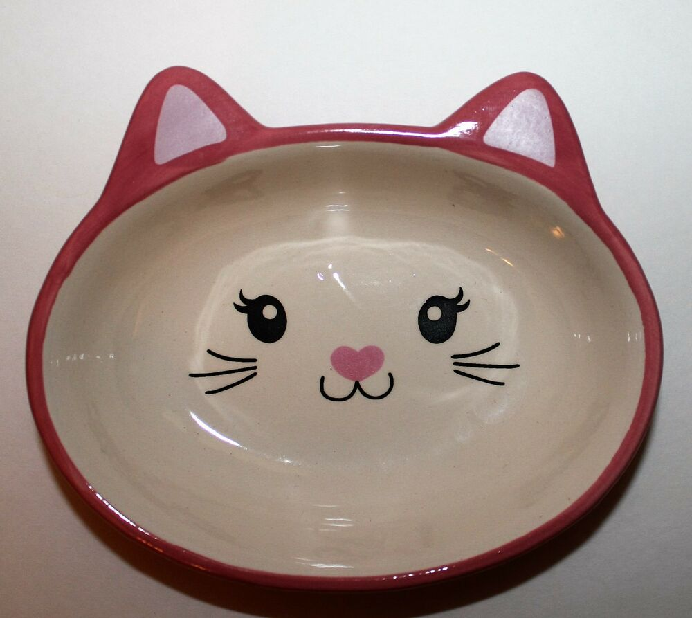 New Pink Ceramic Cat Face Feeding Dish Bowl With Whiskers