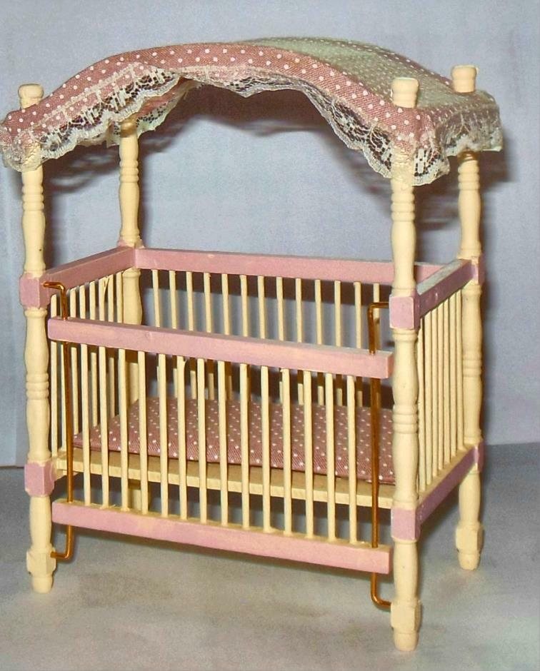 Nursery Canopy Crib Dollhouse Furniture Miniatures Ebay