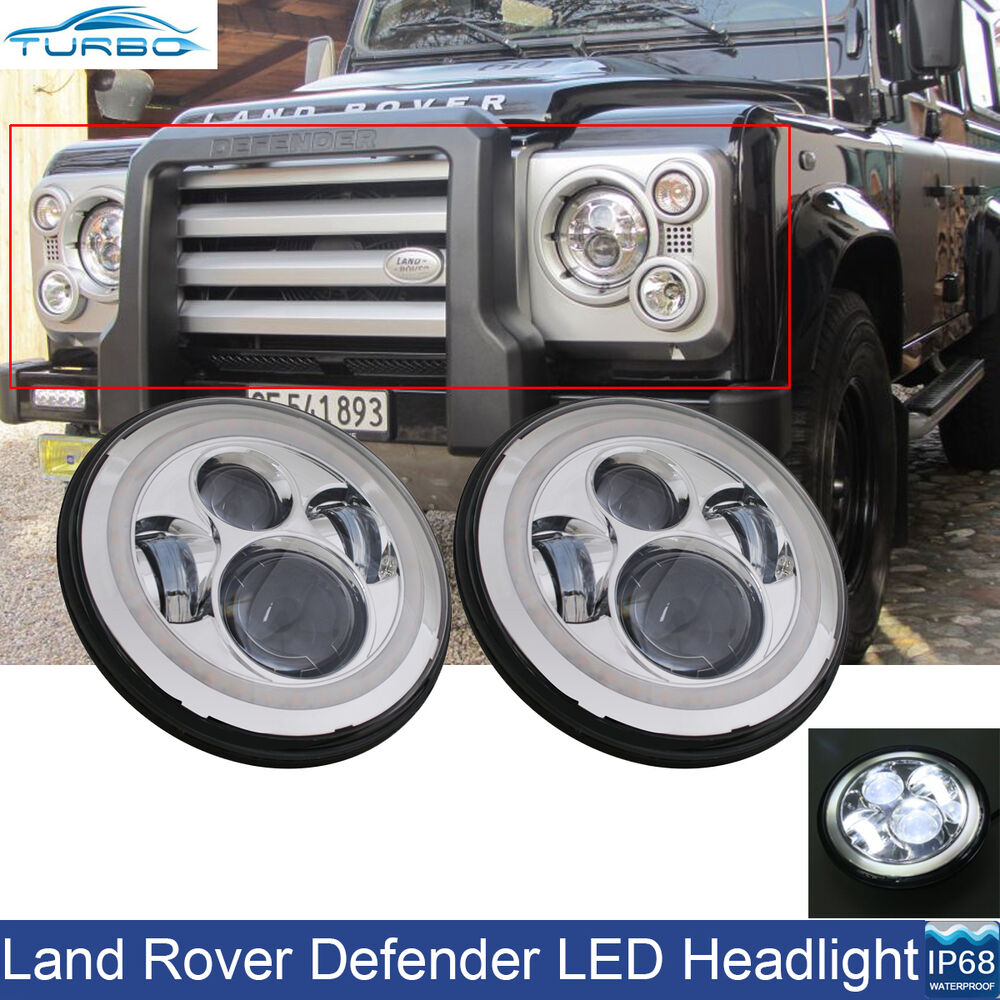 """2x 7"""" Round LED Headlights Angle Eye Halo DRL Fit For Land"""