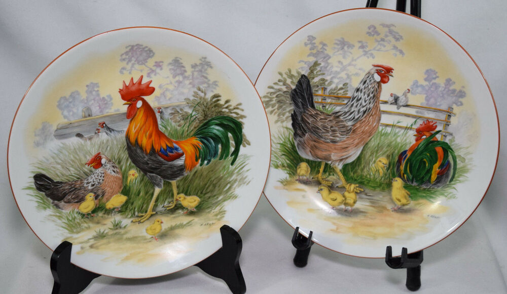 """Decorative Wall Plates For Hanging: VTG Rooster Birds 9"""" Plates Country Decorative Wall"""