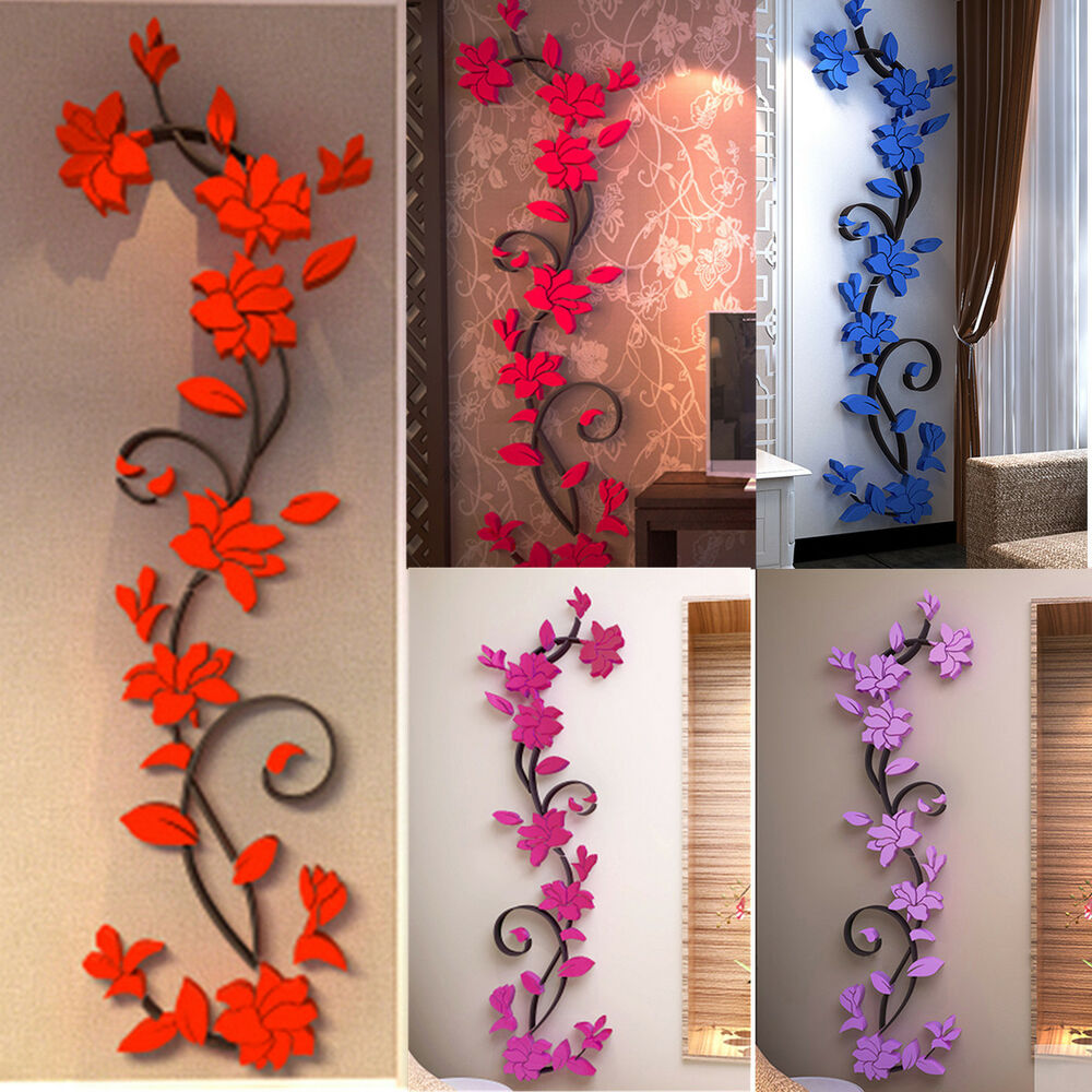 rose flower wall stickers removable decal home decor diy. Black Bedroom Furniture Sets. Home Design Ideas