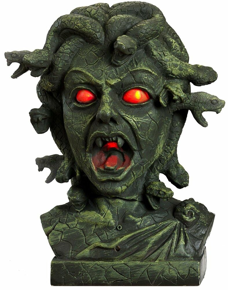 Halloween animated medusa bust sounds prop decoration for Animated flying bat decoration