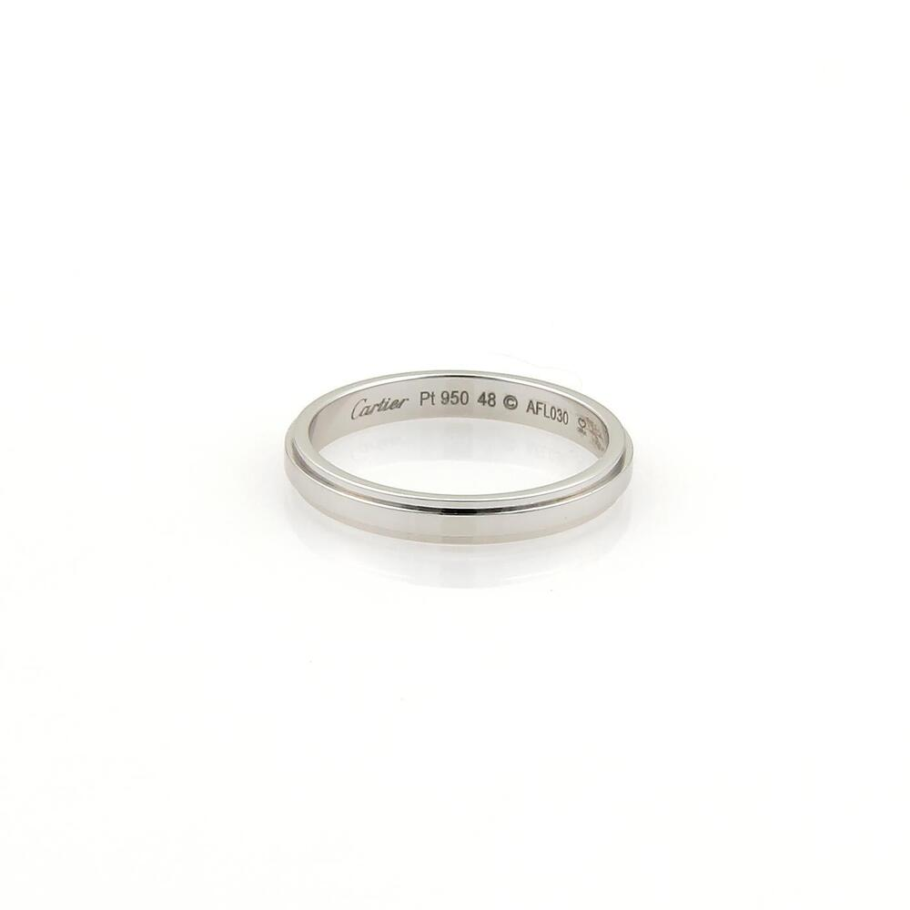 Cartier Platinum: Cartier Platinum 2.5mm Grooved Wedding Band Ring Size EU