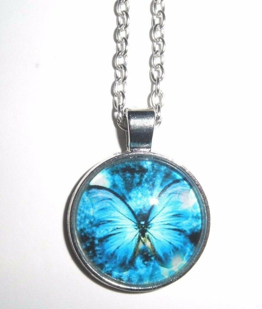 Butterfly Glass Bubble Dome Pendant Necklace Free Chain Your Choice Ebay