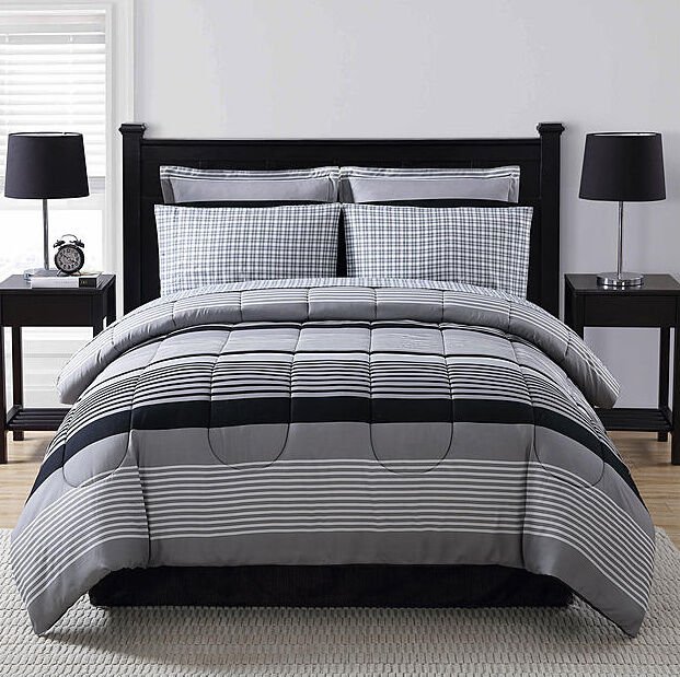 black grey white striped plaid 8 piece comforter bedding set queen size ebay. Black Bedroom Furniture Sets. Home Design Ideas