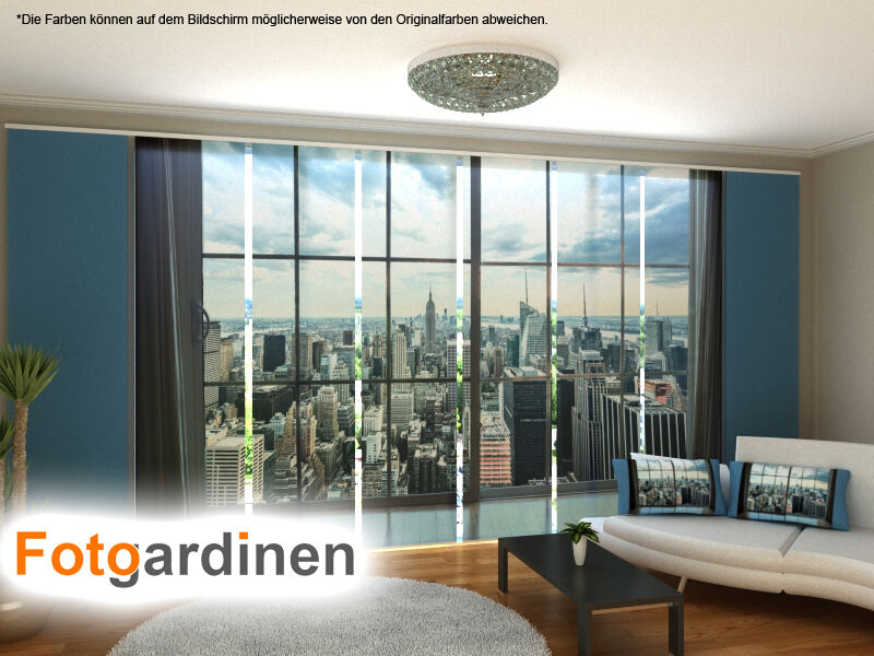 fotogardinen newyork schiebevorhang schiebegardinen 3d fotodruck auf ma ebay. Black Bedroom Furniture Sets. Home Design Ideas