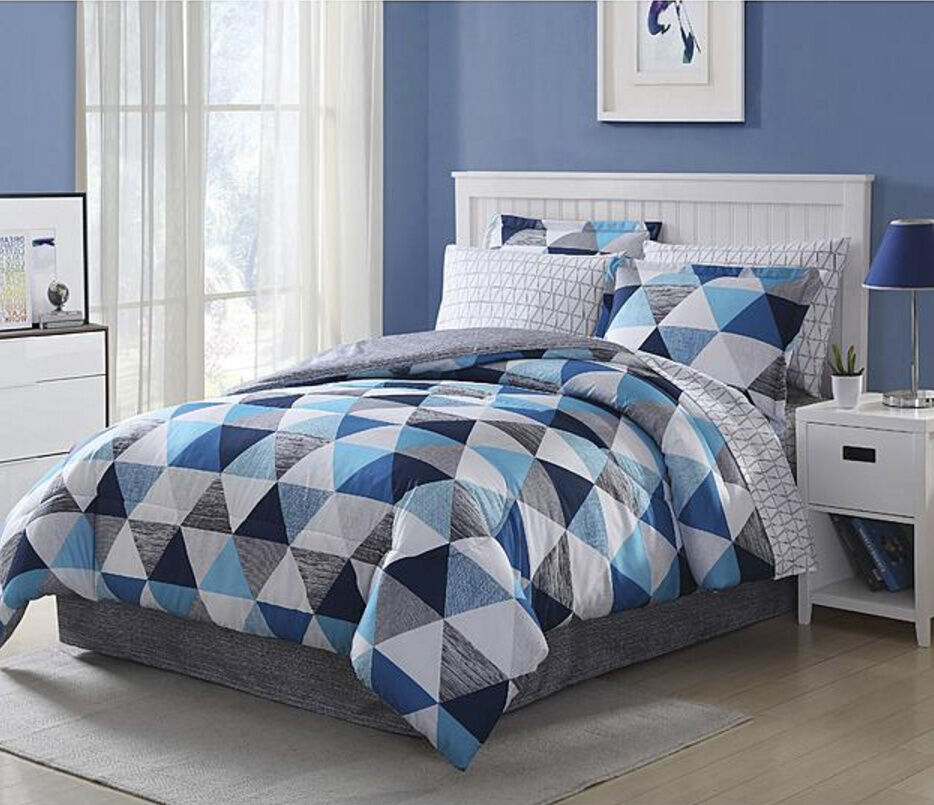 light dark blue white grey geometric 8 piece comforter bedding set queen size ebay. Black Bedroom Furniture Sets. Home Design Ideas