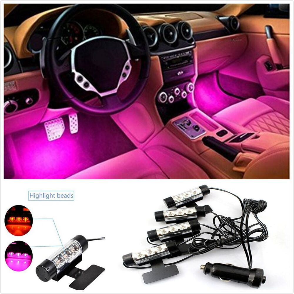 purple pink 12 led car interior footwell neon decorative atmosphere light strips ebay. Black Bedroom Furniture Sets. Home Design Ideas