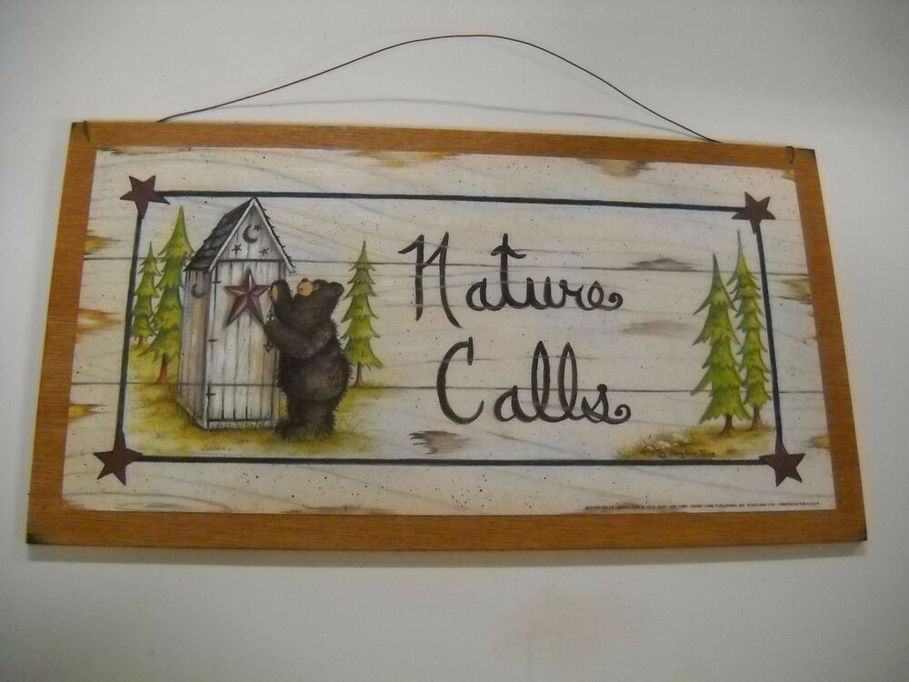 Nature calls brown bear country bathroom sign outhouse for Bathroom decor nature