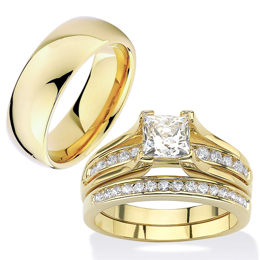 Gold Plated Wedding Rings: HIS & HERS 3 Piece 14K Gold Plated Stainless Steel CZ