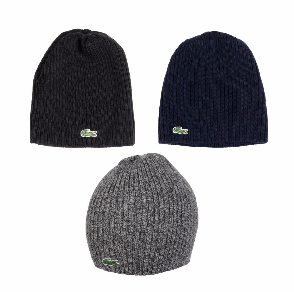 bca9efd6104 Details about NEW LACOSTE BRAND GREEN CROC LOGO RB3504 RIBBED SOFT WATCHCAP BEANIE  HAT