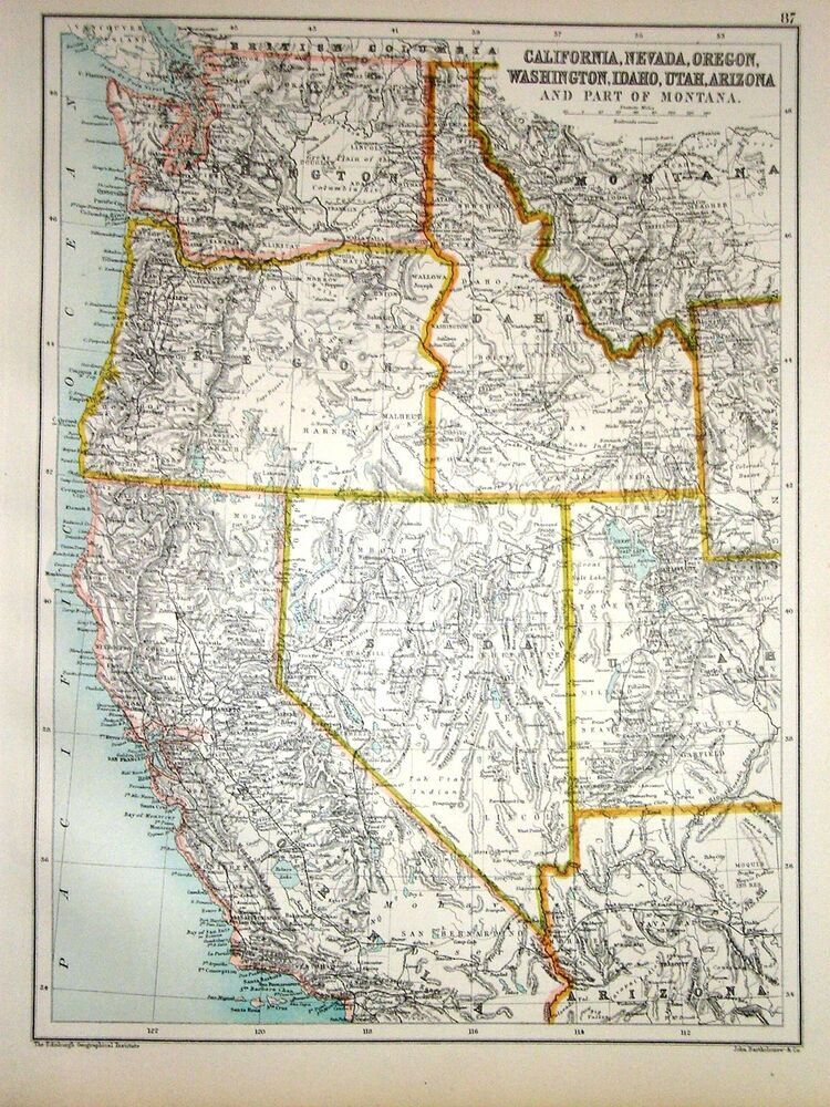 1891 Map California Nevada Oregon Washington Idaho Utah Arizona