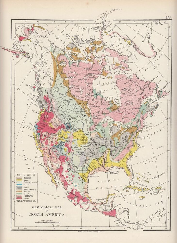 1897 Victorian Map North America Geological Map Tertiary Triassic