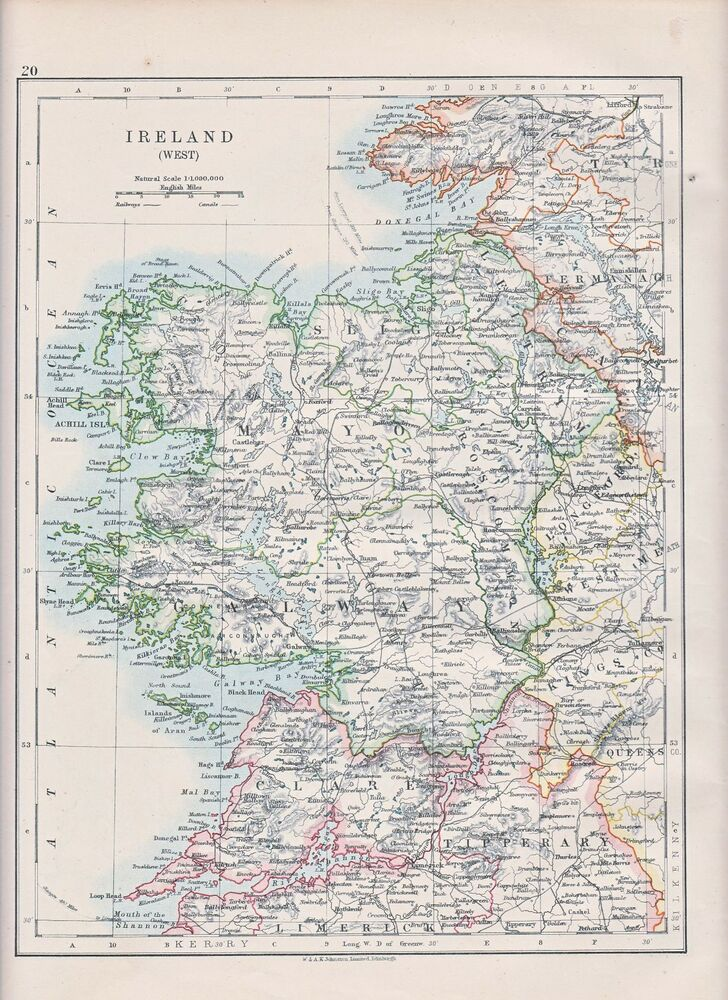 1931 Map Ireland West Galway Mayo Clare Tipperary