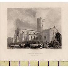 c1800 ANTIQUE GEORGIAN PRINT ~ St DAVID'S CATHEDRAL~ WALES ~ SOUTH WEST VIEW