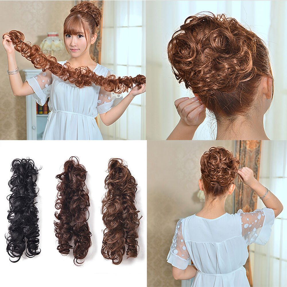 Lady Women Clip Ponytail Wavy Horsetail Curly Long