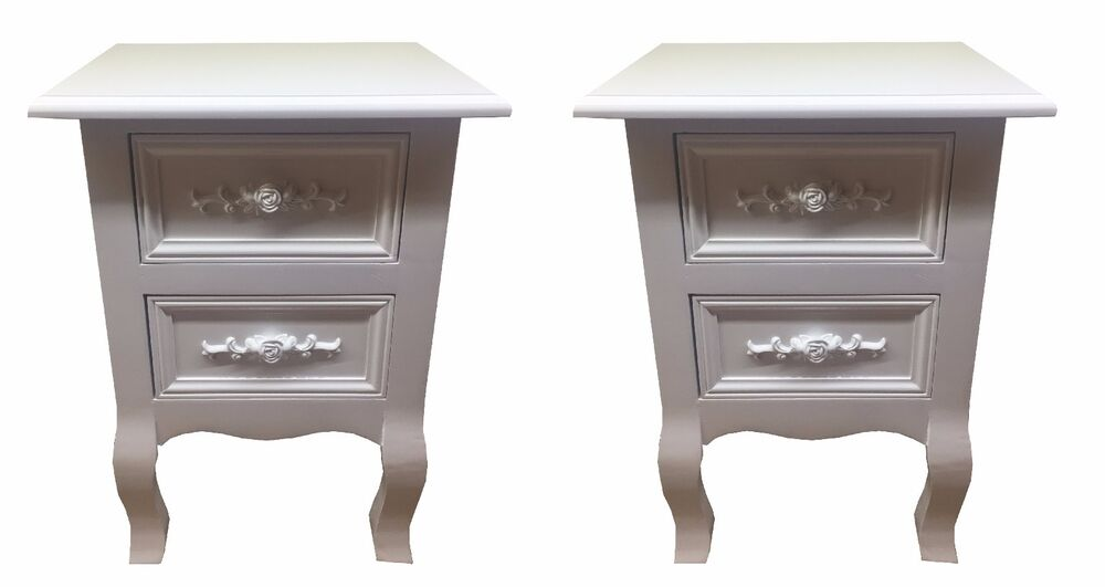 NEW PAIR OF SHABBY CHIC WHITE ROSE WOODEN BEDSIDE CABINET