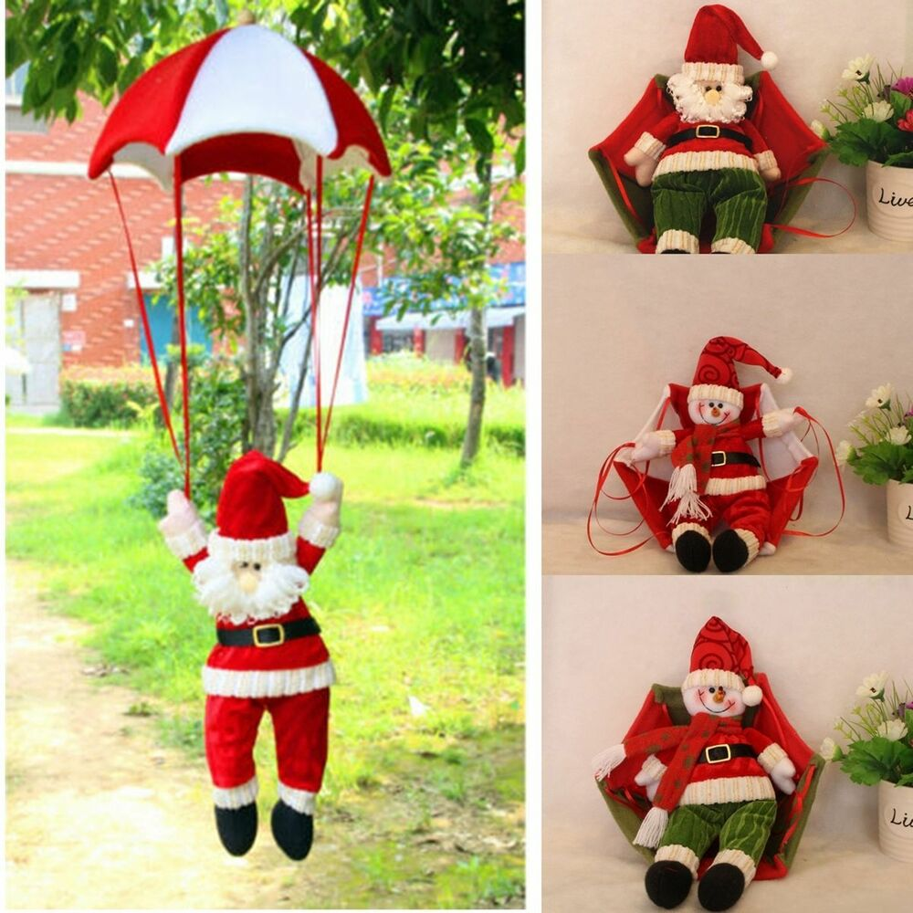 Santa Claus Decorations Uk: Christmas Tree Hanging Decoration Parachute Santa Snowman
