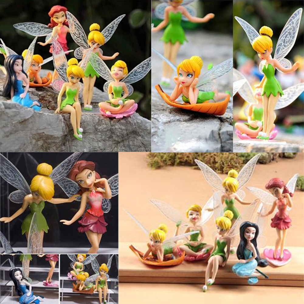 6pcs tinkerbell tinker bell fairies figuren kuchendeckel dekor puppen spielzeug ebay. Black Bedroom Furniture Sets. Home Design Ideas
