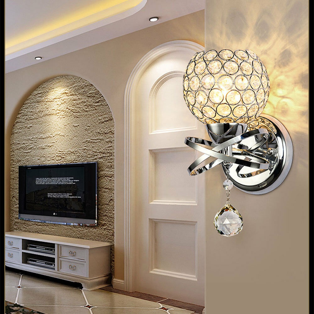 Modern LED Crystal Wall Light Mirror Front Lamp Wall