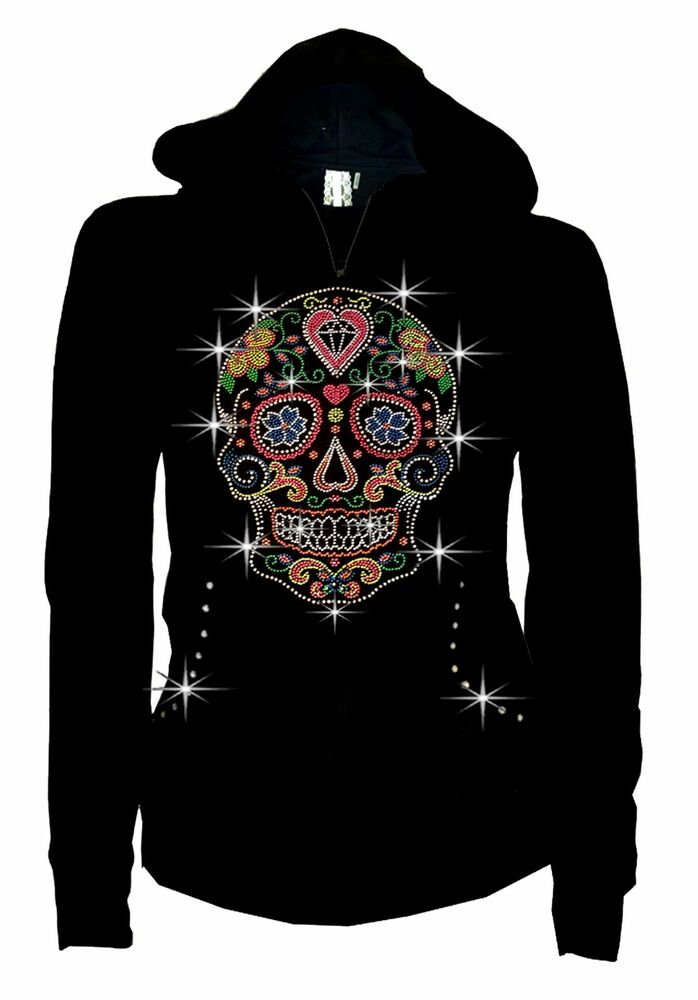 Women Plus Size Sugar Skull Hoodie Sweater Bling Rhiestone