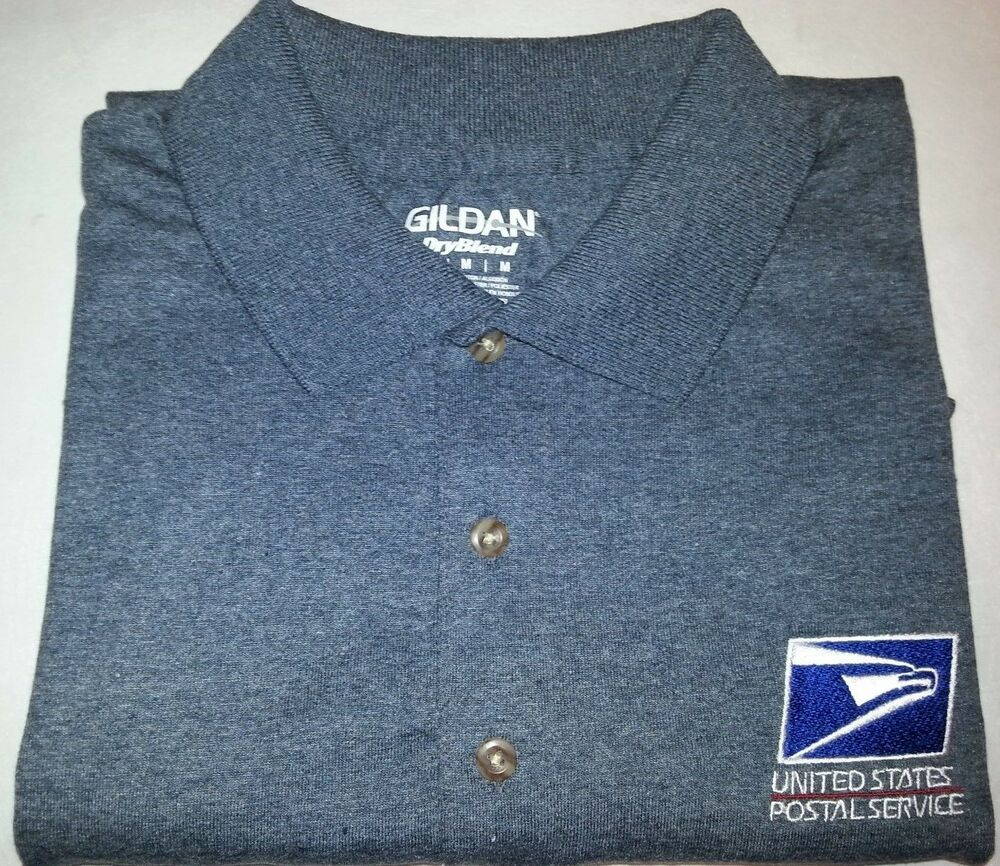 Usps embroidered polo shirt s 3xl charcoal heather 50 50 for Usps t shirt shipping