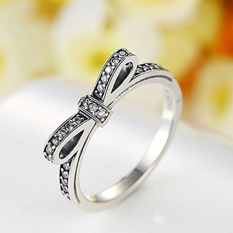 Elegant Silver Bowknot Ring European With Crystal Stone Size