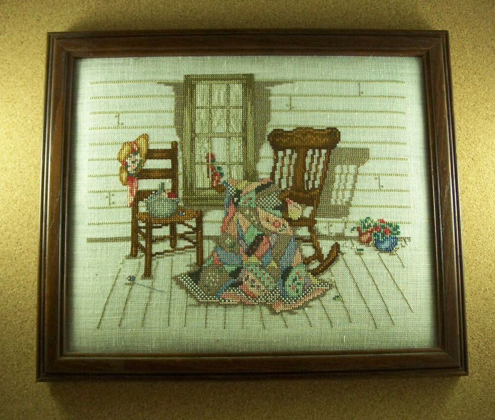 Completed Finished Cross Stitch Quilt Rocking Chair